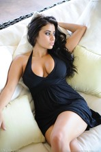 Busty Beauty In black Dress 00
