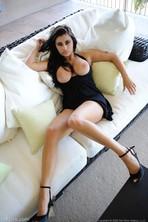 Busty Beauty In black Dress 08