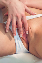 Sybil sits with her legs spread wide 10