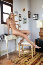 Stunning blonde beauty Nancy A sits in her room 10