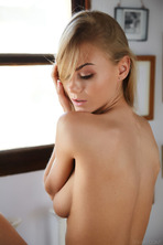 Stunning blonde beauty Nancy A sits in her room 20
