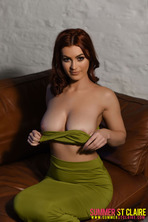 Summer St. Claire Peels Off Her Sexy Green Dress 09