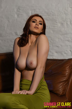 Summer St. Claire Peels Off Her Sexy Green Dress 10