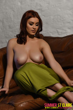 Summer St. Claire Peels Off Her Sexy Green Dress 11