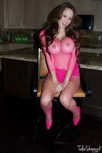 Talia Shepard Shows Off Body In Pink Fishnet Lingerie 04
