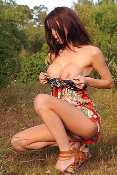 Jennifer Ann Strips Outdoors
