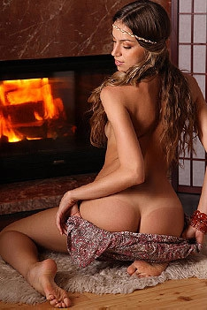 Sofy Strips By The Fireplace