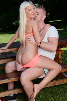 Cute Blondie Gets Drilled Outdoors