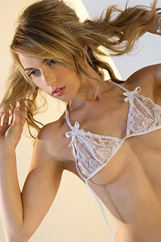 Chloe Toy Looks Lovely Her White Lace Bra