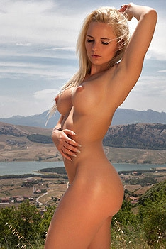 Hot Glamour Model Victoria Angel Undressing Outdoors