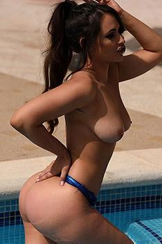 Anastasia Harris In Sexy Blue Swimsuit