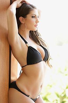 Horny August Strip Off Her Black Bikini