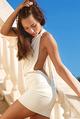 Michaela Isizzu In White Dress